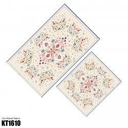 Açık Zemin Çiçek Kompleks Desen  Klozet Takımı-KT1610