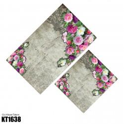 Açık Zemin Çift Kenar Çiçek Demeti  Klozet Takımı-KT1638